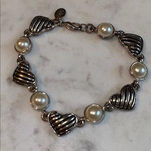 Premier Designs Pearl Heart Silvertone Bracelet